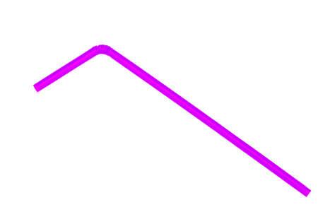 Purple straw on white background