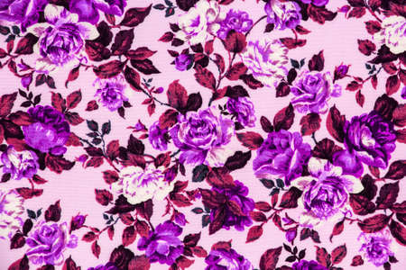 Pattern purple rose on the fabric for background