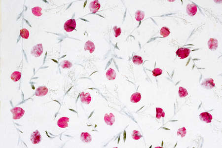 mai: White Sa Paper with roses petals and flowers of grass  background, Sa Paper is hand made paper from parish Bosang province Chiang Mai north of Thailand, Mulberry paper texture background