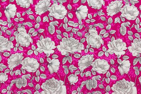 Pattern rose on the fabric for background Reklamní fotografie - 43842175
