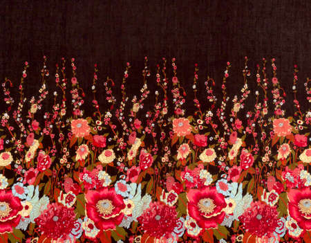 black fabric: Red flowers seamless pattern on black fabric background