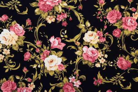 Rose Fabric background, Fragment of colorful retro textile pattern with floral ornament useful as background Reklamní fotografie - 43992909
