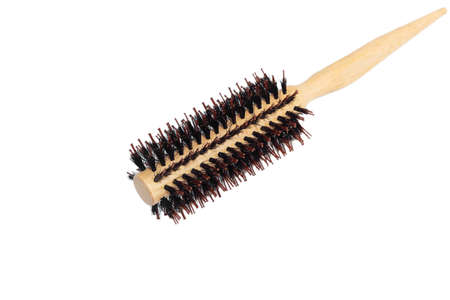 Wooden hairbrush roll  isolated on white background