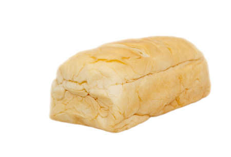 Bread with dried shredded pork and mayonnaise on white background