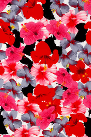 Hawaiian hibiscus fabric background