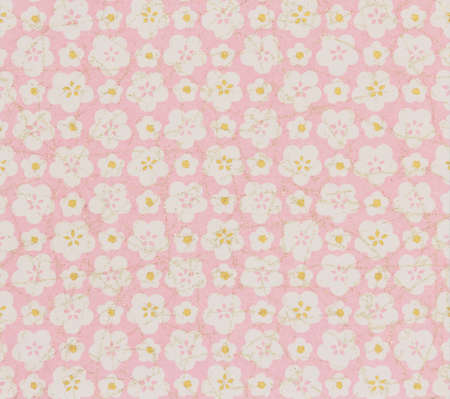 Japanese pattern pink flower on the paper for background, Seamless Japanese pattern
