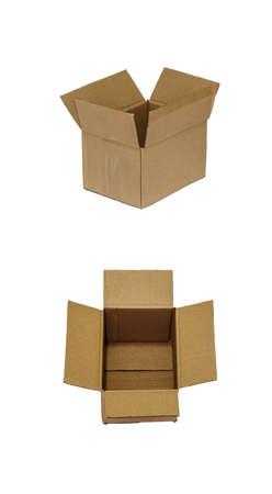 Boîte de papier brun ouvert sur fond blanc Banque d'images - 47867610