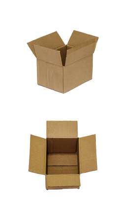 Brown paper box open on white background