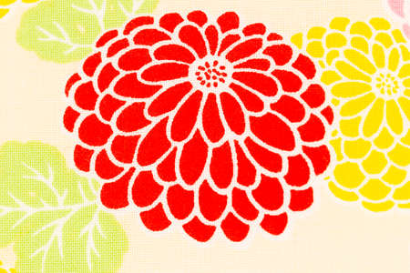 Colorful pattern chrysanthemum on cream fabric background,  Dendranthemum grandifflora
