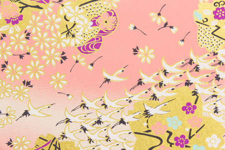 Japanese pattern flower and flamingo on the paper for background, Seamless Japanese pattern Reklamní fotografie