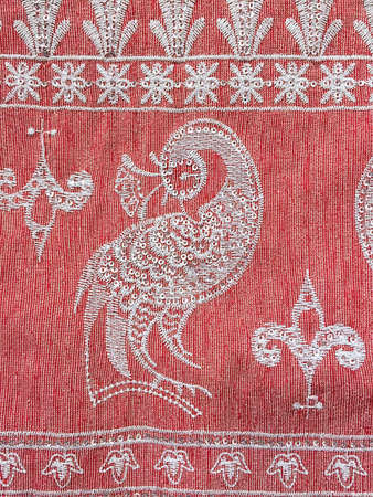 Traditional thai silk with  pattern peacock sequin background