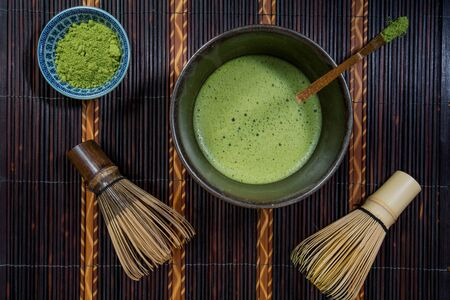 Bowl of Matcha with a Chasen and Matcha Powder