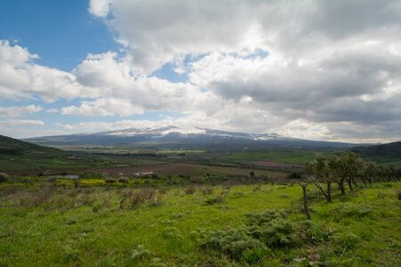 forground: Mount Etna with meadows in forground in Sicily in Italy