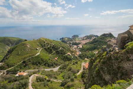 taormina: City of Taormina in Sicily from above Stock Photo