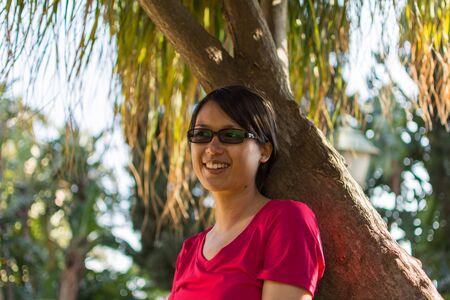 taormina: Portraiture of beautiful asian woman in Taormina in Sicily