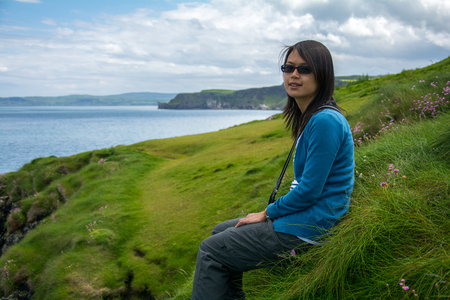 portraiture: Portraiture of a beautiful Asian woman at Irish coast