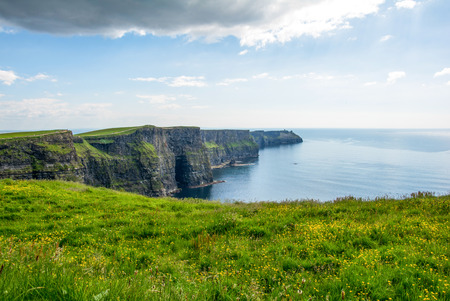 Cliff of Moher Ireland wit blue sky Stock Photo