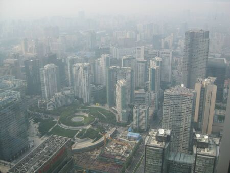 Beijing, China - August 28, 2011: the view on Beijing's skyline on a day with a very high and unhealthy smog level