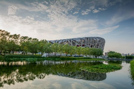 olympics: Beijing, China - July 7, 2015: The Beijing National Stadium The Birds Nest in Beijing, China. This is the National Stadium in Beijing, designed for 2008 Olympics and Paralympics