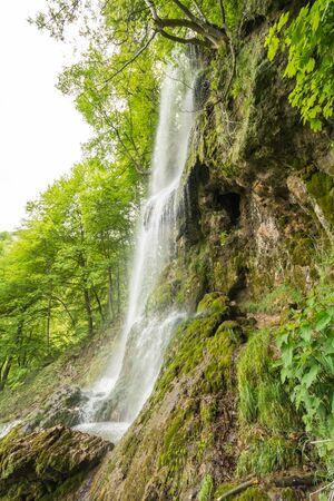 overthrow: Uracher Waterfalls, Bad Urach, Germany on a cloudy day Stock Photo
