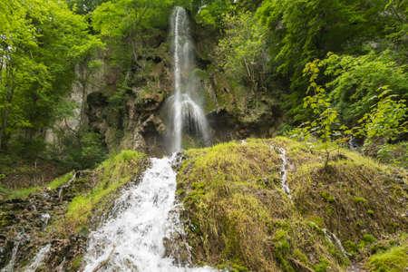 Uracher Waterfalls, Bad Urach, Germany on a cloudy day Stock Photo