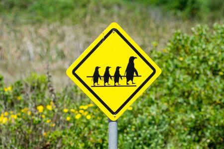 Penguin crossing sign in Port Elisabeth in South Africa