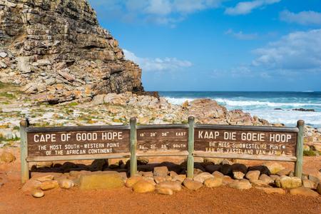 Cabo de buena señal Esperanza, en África del Sur