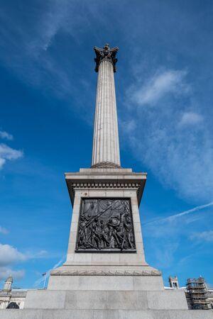 Trafalgar Square with blu sky, London