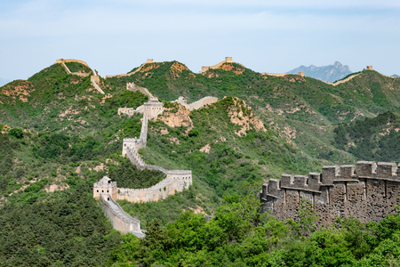 Great wall of China in the Hubei province, Jinshanling in China Stock fotó - 107604199