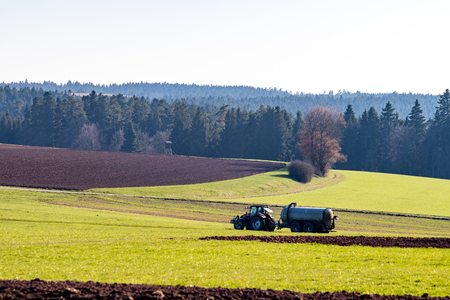 Tractor working on the fields