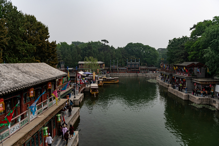Beijing, China - May 15,  2018, Tourists shopping in Suzhou street in beijing in the aea of summer palace