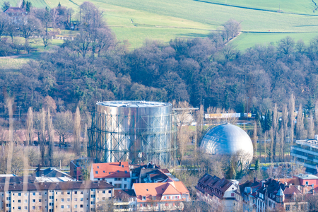 Pforzheim, Germany-March 24 ,2018 SWP plant and the Gasometer of Pforzheim located in the valley