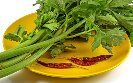 Fresh celery and dried chili peppers on a yellow plate isolated on a white background photo