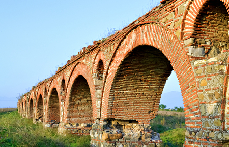 acueducto: Historical building of the famous aqueduct near Skopje Stock Photo