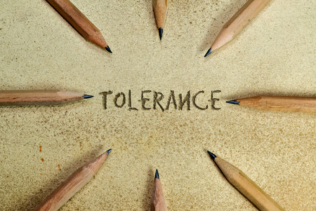 religious text: Pencils in simple conceptual expression as an appeal for tolerance Stock Photo