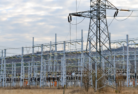 electricity substation: Substation for high voltage conversion and distribution of electricity Stock Photo