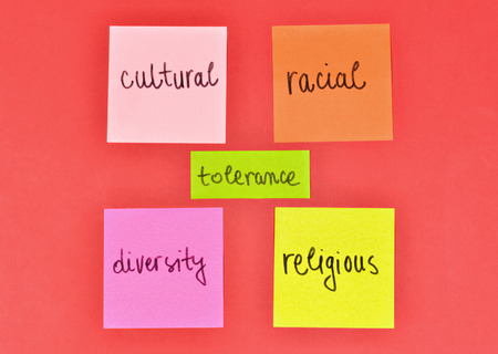 Stickers in conceptual expression and appeal for human tolerance photo