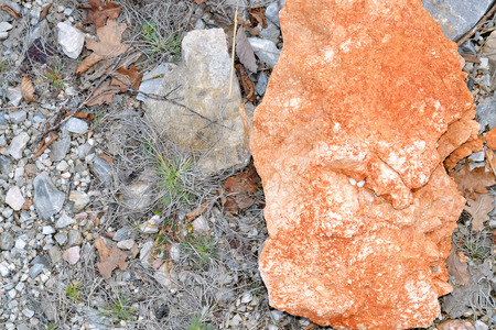 sedimentary: Large sedimentary red stone in contrast with the rest of the environment Stock Photo