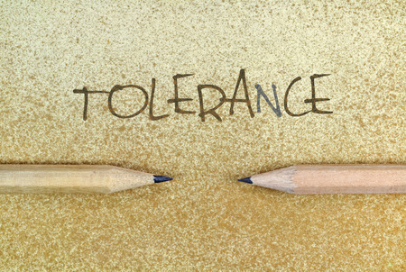 Pencils in simple conceptual expression as an appeal for tolerance Stock Photo