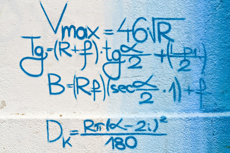 mathematical: Mathematical formulas written on the wall as a background