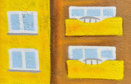 infantile: Detail of a naive picture on the wall painted by a child in vivid colors Stock Photo