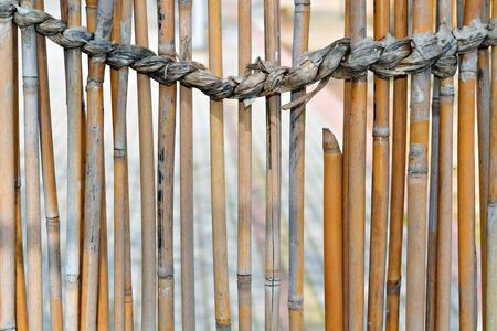 straw twig: Bamboo fence and a strong rope made of completely natural materials