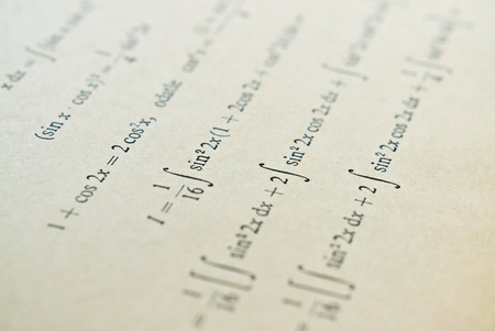 Closeup of mathematical lessons on differential and integral calculus Stock Photo