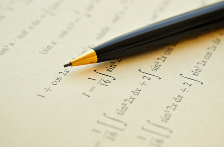 integral: Closeup of mathematical lessons on differential and integral calculus Stock Photo