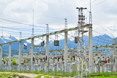 electric power station: Substation for high voltage conversion and distribution of electricity Stock Photo