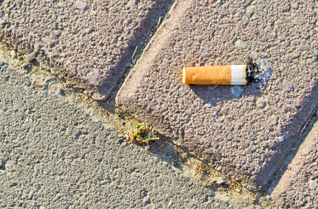 Closeup of a cigarette butt thrown on the pavement Stock Photo