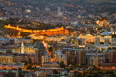 Wide angle night view to the capital city of Macedonia Stock Photo