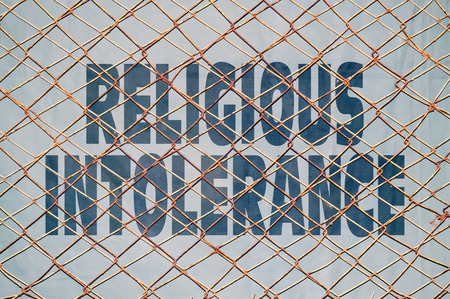 bigotry: Conceptual appeal for stopping the religious intolerance and violence Stock Photo