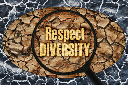 Text Respect Diversity under a magnifier on abstract background