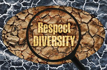 respetar: Texto respetar la diversidad bajo una lupa en el fondo abstracto